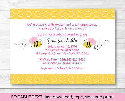 Pink Bumble Bee Printable Baby Shower Invitation Editable PDF - Bumble Bee Invitations