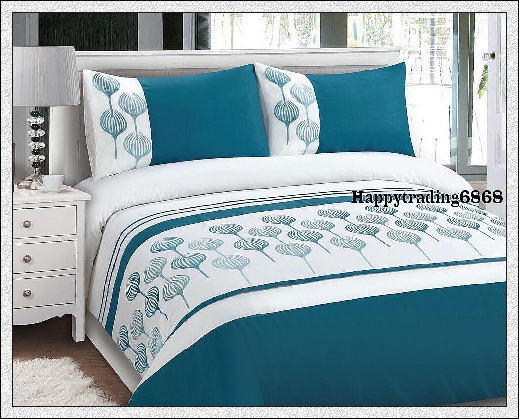 Turquoise Duvet Cover: 280TC White Turquoise Embro King Queen Quilt Doona Duvet
