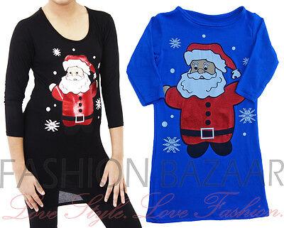 Cheap Girls Christmas Tunic Dress Black Blue Santa Xmas School Party Dress Top (Cheap Santa Dresses)