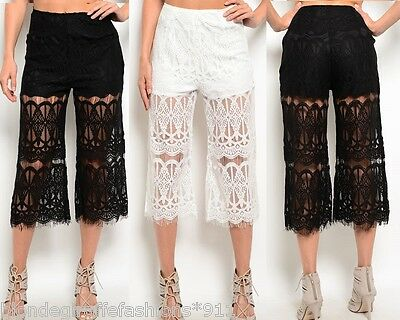 Black or White Lace Wide Leg Cropped Capri Gaucho Pants Palazzo Shorts Lined ()