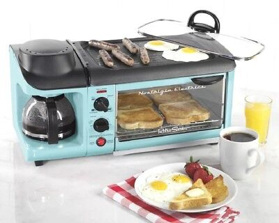 Small Kitchen Appliance Breakfast Station Blue Coffee Maker Oven Toaster Combo