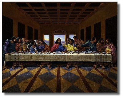 Купить Jesus Christ Black Last Supper Religious & Inspirational Wall Art Print Picture