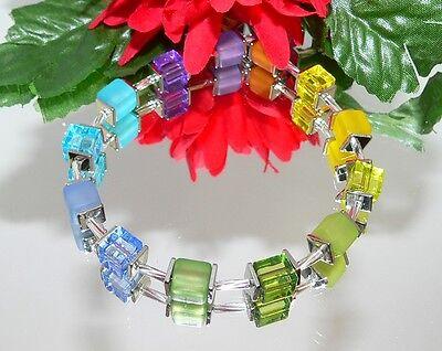 ARMBAND Würfelarmband Cube Regenbogen bunt multicolor grün, blau, rot,   234f ()