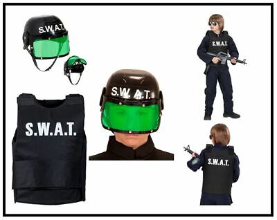 SWAT kugelsichere Weste mit Helm Jungen Kostüm Kinder Polizei  Karneval , (K) ()