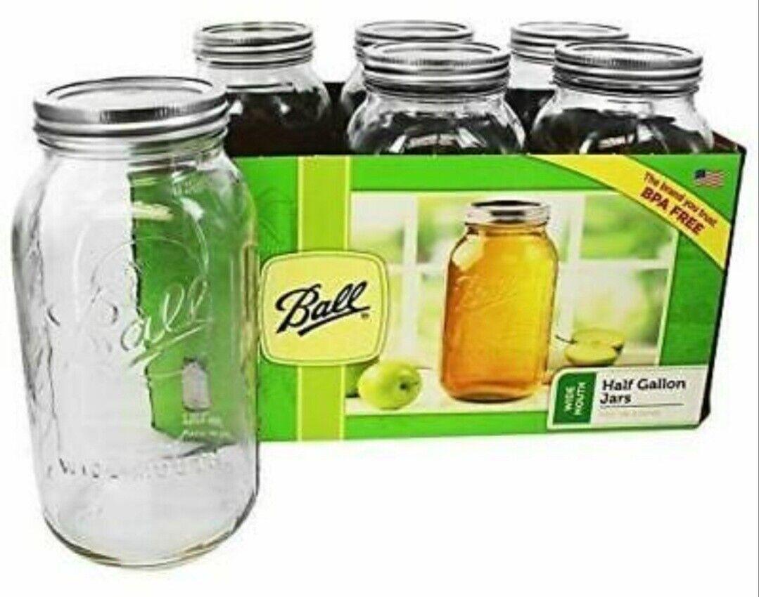 Ball Wide Mouth Canning Mason Jars, Half Gallon Clear Glass