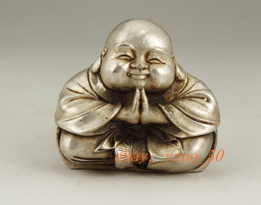 CHINESE OLD WHITE COPPER HANDWORK CARVING 4 FACE BUDDHA SNUFF BOTTLE