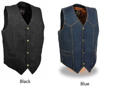 Milwaukee Men's Classic Snap Front Denim Biker Vest (Black & Blue Colors) DM1310