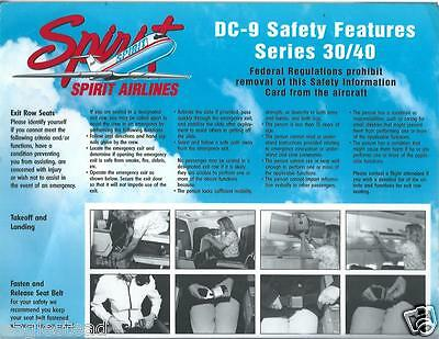 Safety Card   Spirit   Dc 9 30 40  Nw Style Flight Attendant Demo Photos  S3565