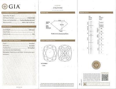 Huge 3.53 Ct Cushion Cut Diamond Platinum Engagement Ring U-Setting J,VS2 GIA  3