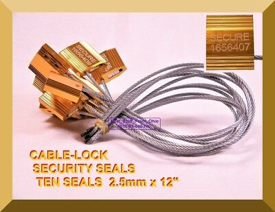 Cable-lock Security Seals Cargo Tanker Yellow-gold Ten All-metal Seals