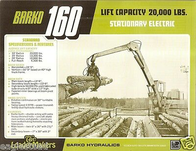 Equipment Brochure - Barko - 160 - Wood Yard Stationary Log Loader 1977 E1387