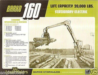 Equipment Brochure - Barko - 160 - Wood Yard Stationary Log Loader 1977 E1387