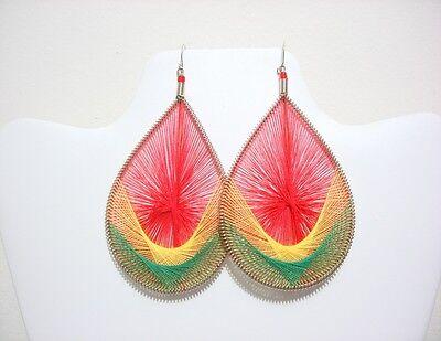 12 pairs of handmade Peruvian Thread Earring Rasta Ethiopian colors # 208122