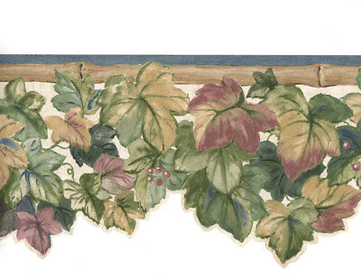 Green Purple Ivy Leaf Vine Bamboo Die Cut Sculptured Blue Trim Wall paper Border - Ivy Leaf Trim