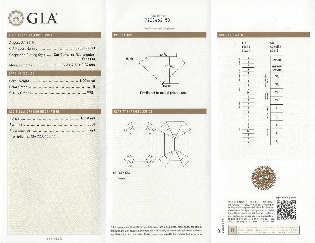 Fine 2.25 Ct Emerald Cut Diamond Baguette & Round Cut Engagement Ring H,VVS1 GIA 3
