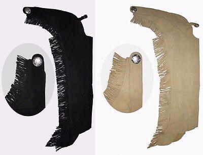 Western Chaps mit Fransen aus Leder Gr. XS-XL schwarz, braun oder beige (Western Chaps)