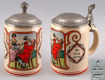 Ceramics Beer Mug Marzi & Remy Art Nouveau Beer Garden Scene 25448017