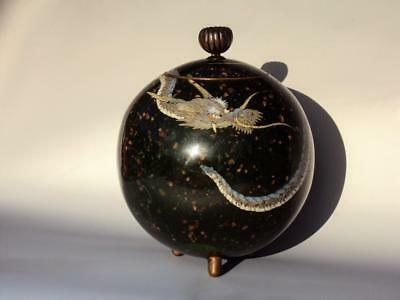 IMPRESSIVE Japanese Antique Oriental Spherical Jar Dragon Cloisonne Enamel Meiji
