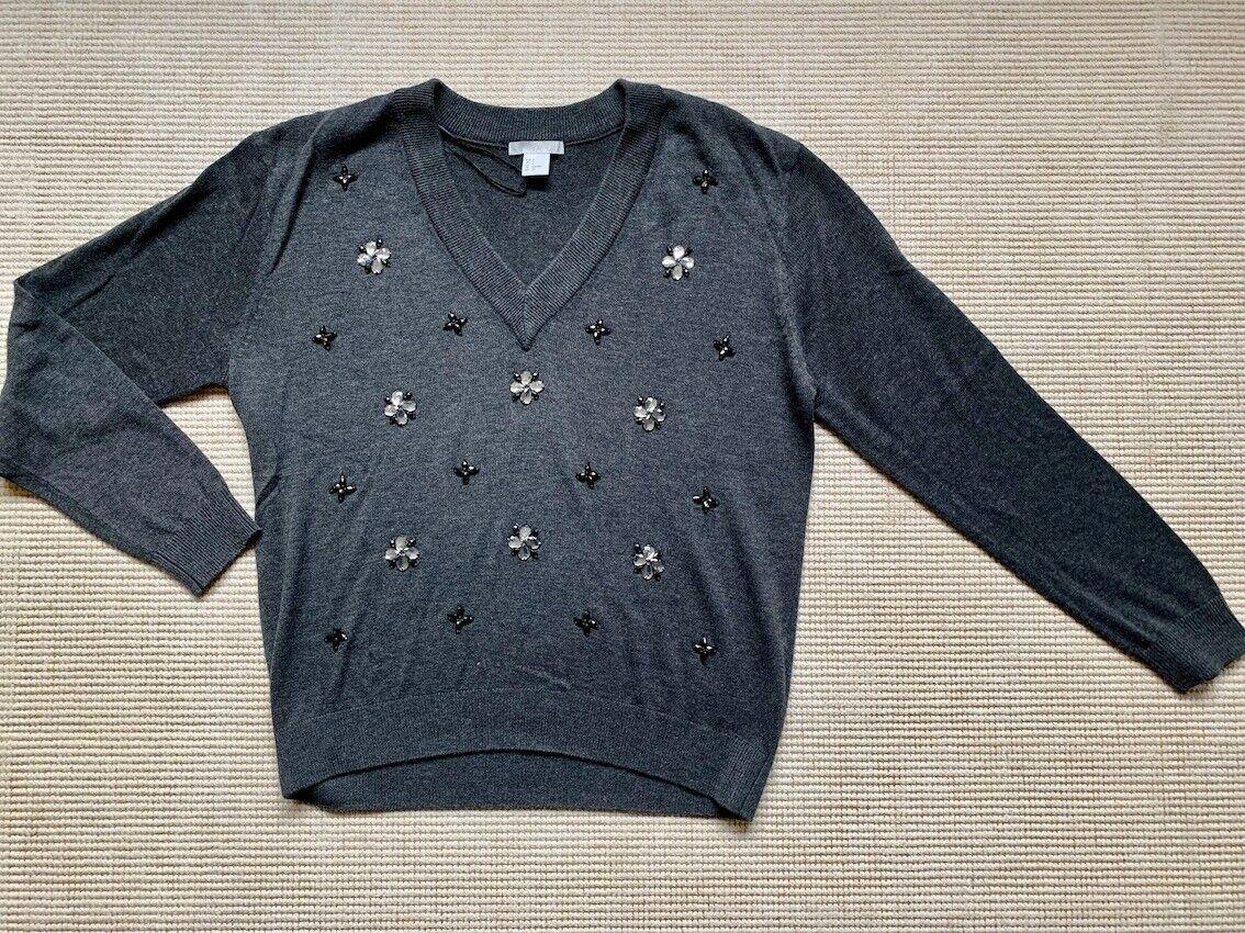 H&M Pullover Grau V-Ausschnitt für Damen bestickt mit Glitzersteinen Gr.S