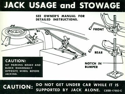 1968 Ford Thunderbird Jack Instruction Decal