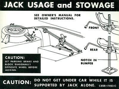 1968 Ford Thunderbird Jack Instruction Decal