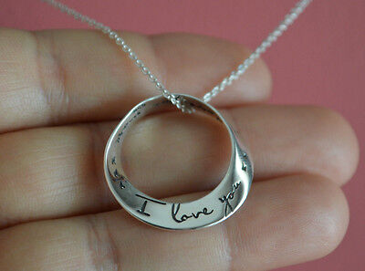 925 Sterling Silver I Love You  I Love You More Message Charm Necklace