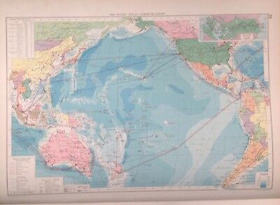 The Pacific Ocean-Communications, 1952, Mercantile Marine Atlas, Philip