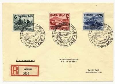 D.Reich Nr. 695-697 auf R-Brief ADENAU mit SST NÜRBURGRING 23.7.39 (44042)