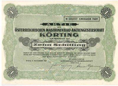 Österreichische Maschinenbau AG Körting 1927  Wien