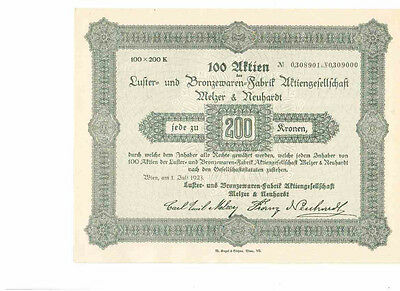 Luster u. Bronzewaren Fabrik Melzer & Neuhardt 1923  Wien