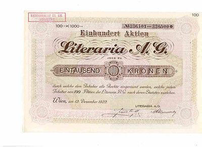 Literaria AG  1922  Wien