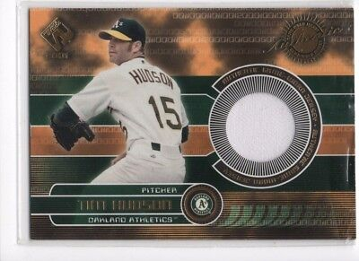 Tim Hudson 2001 Pacific Private Stock Game Worn Jersey Card    131  Oakland