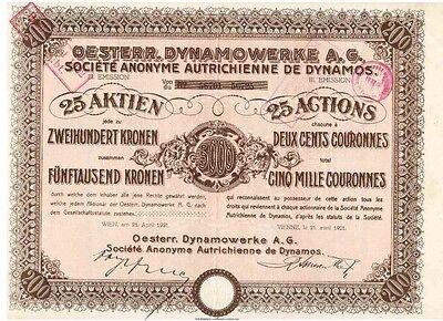 Österreichische Dynamowerke AG  1921 Wien
