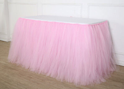 Pink Tulle TUTU Table Skirt Tableware Wedding Birthday Party Baby Shower Decor - Pink Tutu Table Skirt