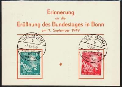 Bund Nr. 111-112 FDC-Karte, Ersttagsbrief, Eröffnung 1. Bundestag Bonn (41347)