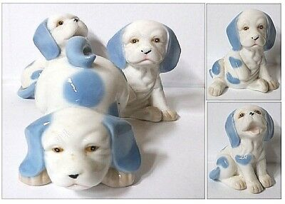 Bonbonniere Set N.3 Dog Cm.8H IN White Porcelain and Blue For Birth And Baptism