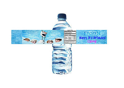 Frozen Personalized Water Bottle Label Set of 5 Printable (DIY)