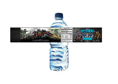 Transformers Personalized Water Bottle Label Set of 5 Printable (DIY)