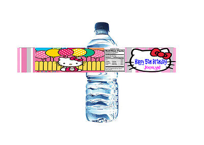 Hello Kitty Personalized Water Bottle Label Set of 5 Printable (DIY)