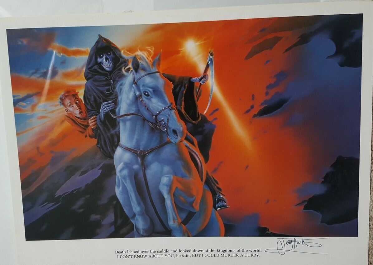 Death & Mort on Binky  Discworld Pratchett  Signed  Print