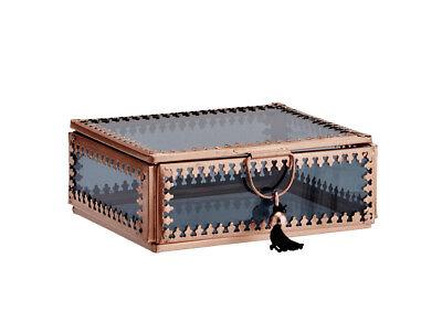 Kupfer-glas (Glasbox Schatulle Schmuckdose Kupfer Glas schwarz Boho Ethno Madam Stoltz)