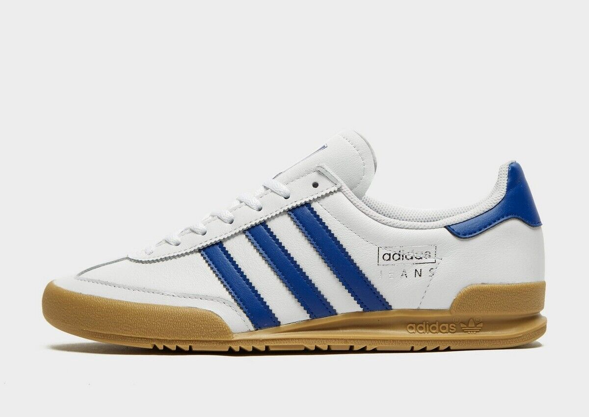 adidas Originals Jeans Mens Trainers White Blue Leather Shoes All Sizes