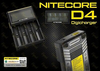 Nitecore D4 Digicharger/Four Channel Universal Smart Battery Charger/LCD Display