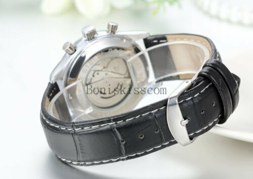 Mens Casual Skeleton Automatic Mechanical With Date Leather Band Wrist Watch