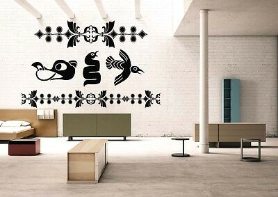 Wall Room Decor Art Vinyl Sticker Mural Decal Zentangle Bird Snake Viking FI1048