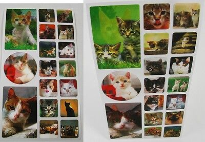CATS - 3D Lenticular Stickers - 17 Motion  Flip - Scrapbooks - Decorate Gifts