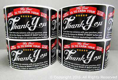 500 eBay Amazon Etsy Thank You For Your Purchase 5 Star FB Labels Stickers 2x3 (Etsy Ebay)