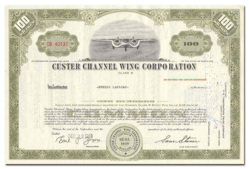 Custer Channel Wing Corporation Stock Certificate