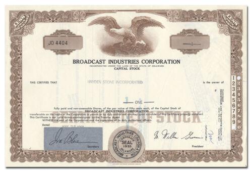 Broadcast Industries Corporation Stock Certificate