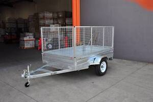 8x5 box trailer with 900mm cage and 1200mm tail fold up ramp Underwood Logan Area Preview